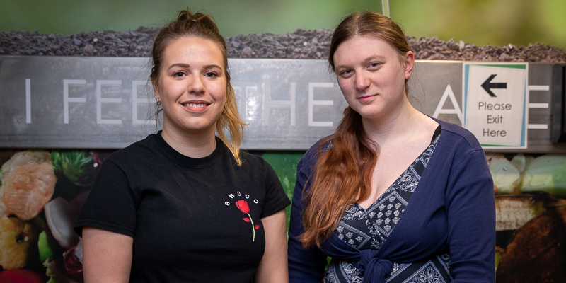 Lauren Rees and Helen Daddow residence student environmental representative in their respective buildings in Paton College