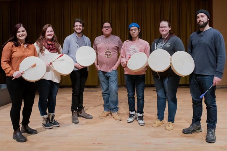 From left: Gale Franklin; Ellen McCutcheon; Christian Dauble; Boxuan Du; Kala Davis; and Daniel Neill were among the participants in the drum making workshop.