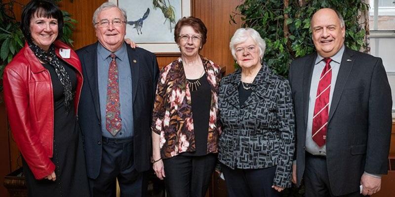 Karyn Butler, Dr. Edgar Williams, Doreen Whalen, MUNPA President Jane Foltz, and Memorial University President Dr. Gary Kachanoski at this year's Tribute Awards