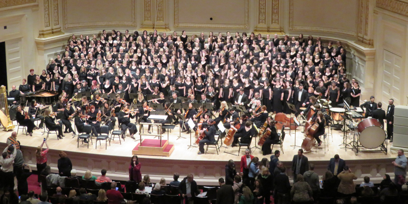 International Women's Day was honoured by a massed women's choir performing on March 17, 2019, at Carnegie Hall.