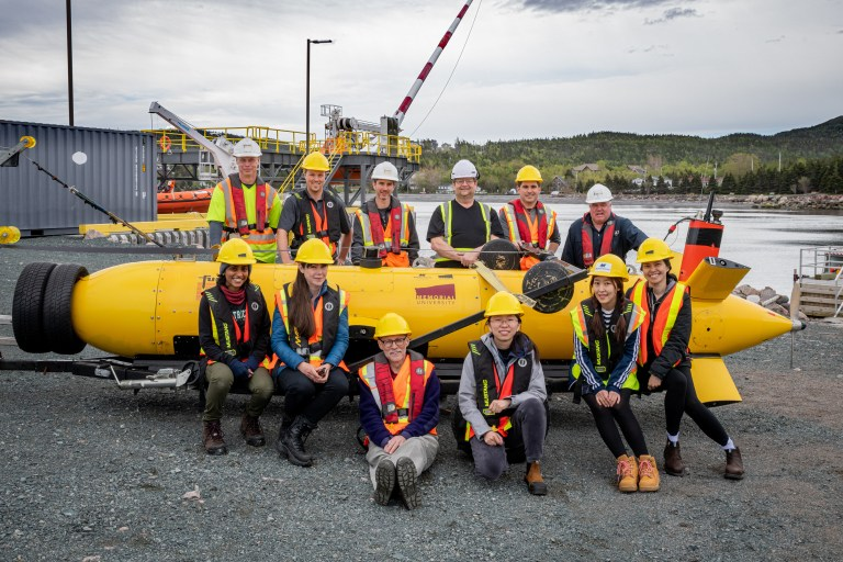 The research team members include from left (back row): John Slade, Fugro; Nathan Ehrenholz, International Submarine Engineering Limited; Andrew Walsh, Fugro; Eric Davis, Marine Institute; Craig Bulger, Marine Institute and CREAIT Network; Eugene Antle, Marine Institute. From left (front row): Ginelle Nazareth, International Submarine Engineering Limited; Gina Miller, CREAIT Network's Autonomous Underwater Vehicles node; Dr. Neil Bose, Memorial; Yaomei Wang, Memorial; Jimin Hwang, University of Tasmania; and Dr. Bo Thanyamanta, Memorial.
