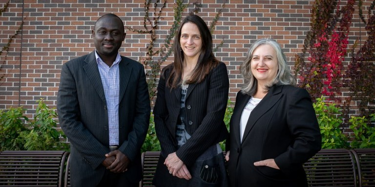 In addition to Dr. Savas, (far right) the study team includes Dr. Teri Stuckless, middle, an oncologist, Faculty of Medicine, and Dr. Eric Tenkorang, (far left) a sociologist, Faculty of Humanities and Social Sciences.