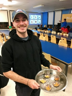 Graduate student shows us the sea urchin roe