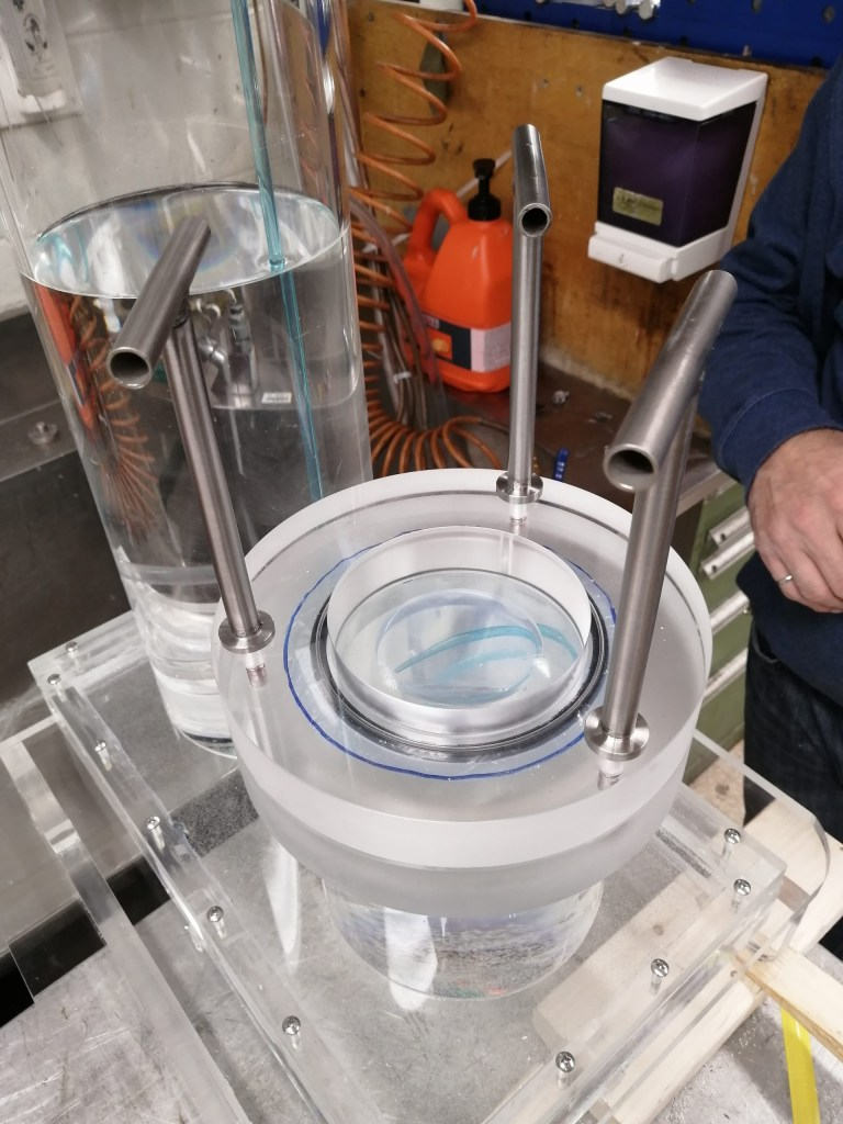 The Department of Technical Services created this hydrostatic pressure test device as part of its collaboration with the Faculty of Engineering and Applied Science.