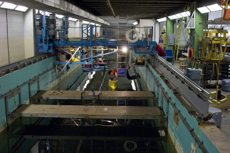 Memorial's Ocean Engineering Research Centre operates a 54 metre towing tank for use in various tests in the ship design and offshore research fields.