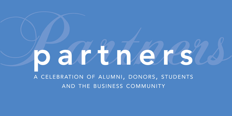 "The word ""partners"" is featured on a blue background. The subheading reads ""A celebration of alumni, donors, students adn the business community."""