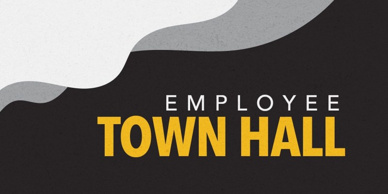 The words employee town hall are written in white and yellow text over a black background with yellow, white and grey designs
