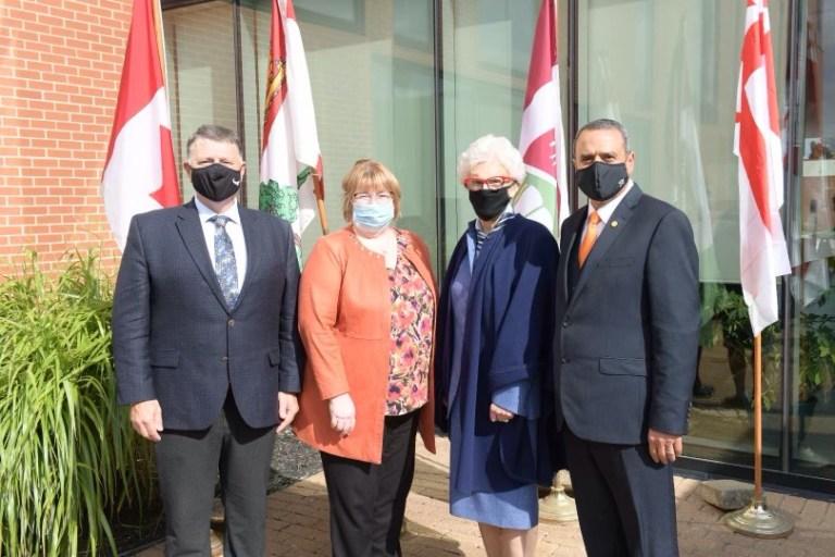 From left: Dennis King, premier, PEI; Dr. Margaret Steele, dean, Memorial; Catherine Callbeck, chancellor, UPEI; and Dr. Alaa Abd-El-Aziz, president, UPEI. .