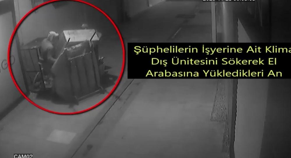 Klima hırsızları güvenlik kamerasında
