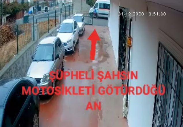 Motosiklet hırsızı güvenlik kamerasına yakalandı