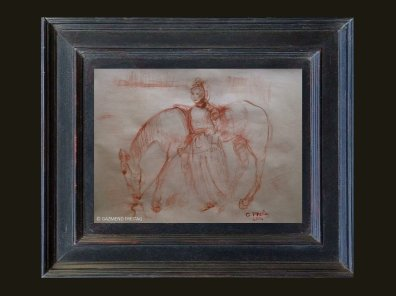 ALBANERIN MIT PFERD | 2014 Kreide und Tusche auf Papier, 65 x 49 cm