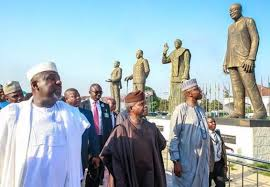VP Yemi Osinbajo inspects the various statues