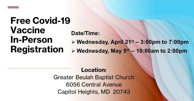 Free Covid-19 Vaccine In-Person Registration
