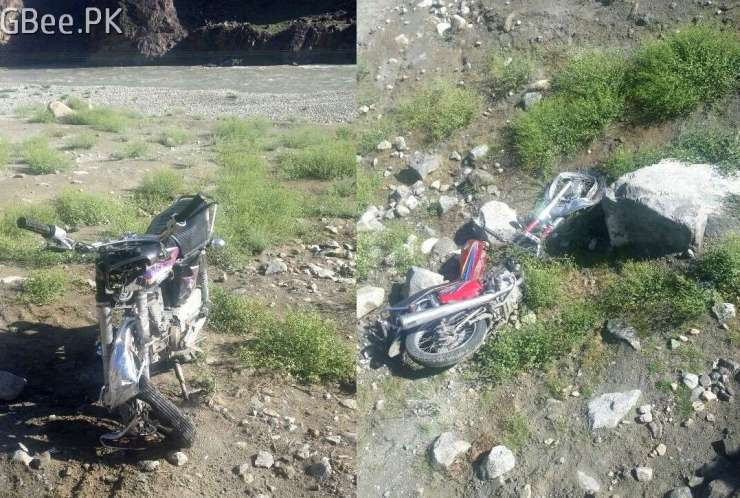 Bike accident in Gilgit on Ghizer road near baseen