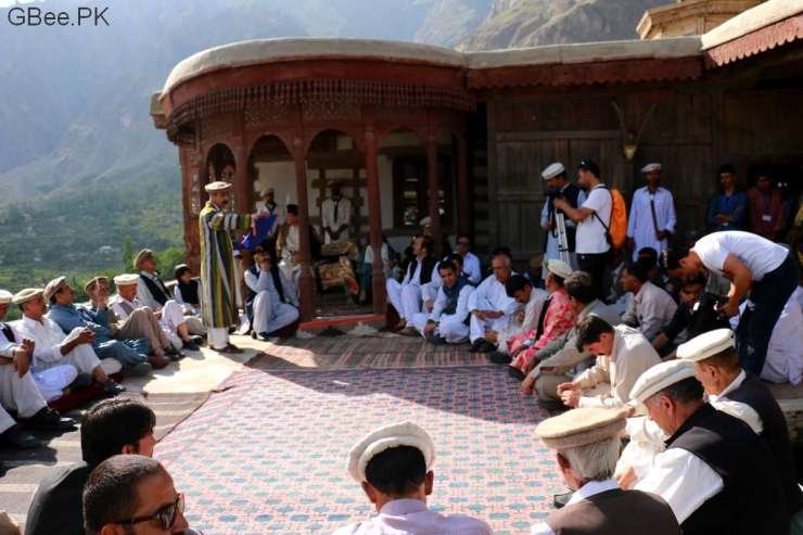Locals elders and leaders gathers in Chataq at Baltit Fort for the Ginani Festival.