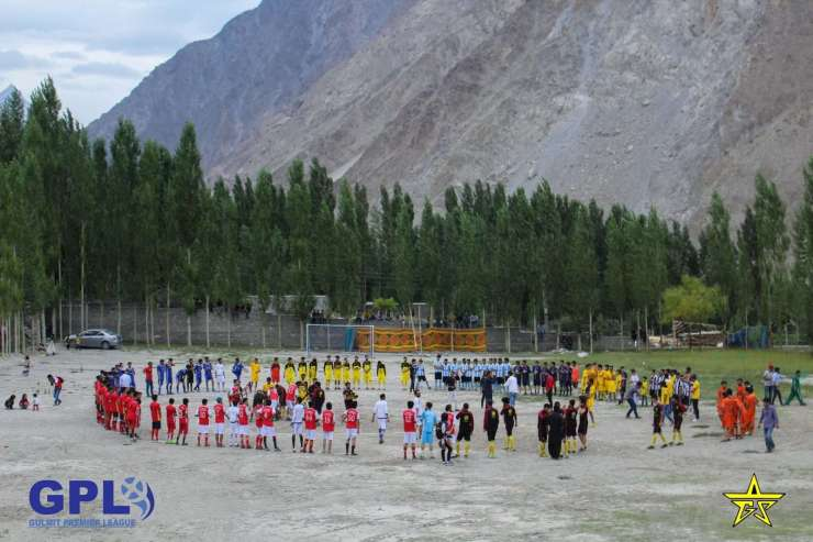 A glimpse of players performing dances at the opening ceremony Gulmit Premier League Season V.