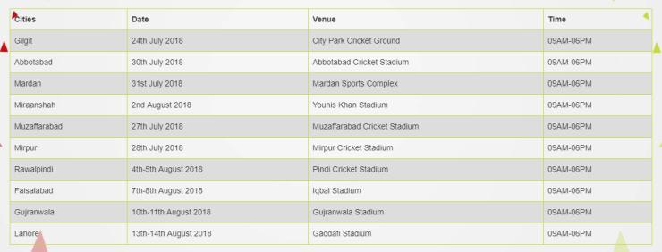 Lahore Qalandars Trials schedule