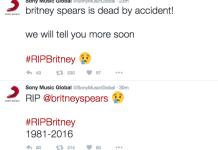 "Hacked Sony account spreads false news - ""RIP @britneyspears"""
