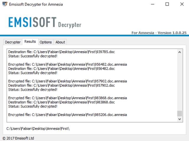 Decrypter for Amnesia Ransomware