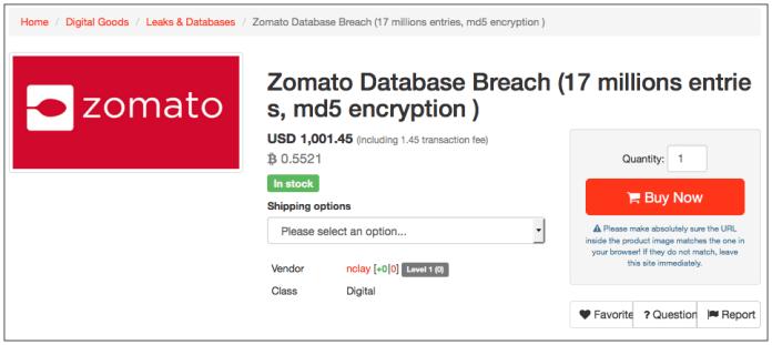 Zomato's Massive Data Breach about 17 Million User Record Stolen and Revealed in Darkweb