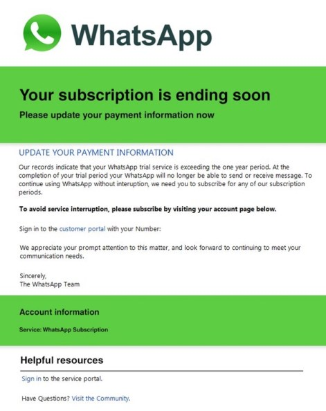 WhatsApp Scam alert Subscription Ending Email or Text  - whatsappscam - WhatsApp Scam alert Subscription Ending Email or Text