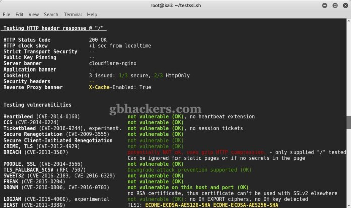 testssl.sh  - 6 - Tool to check TLS/SSL vulnerabilities and Ciphers