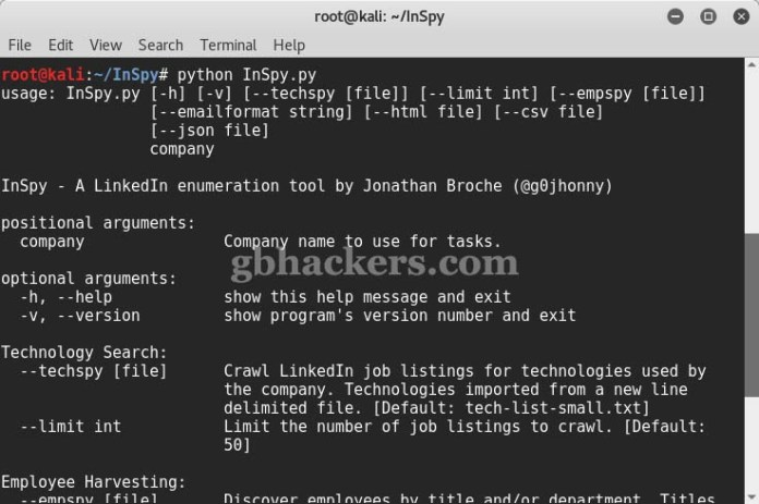InSpy  - Inspy 1 - Linkedin Information Gathering tool for Pentesters