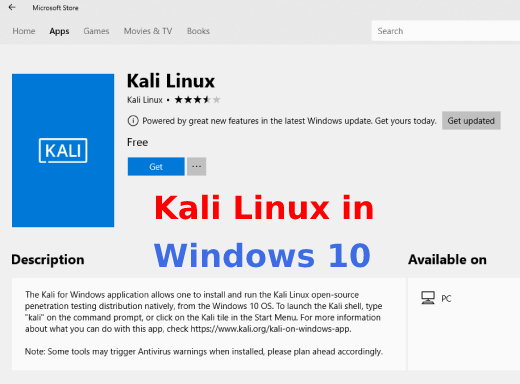 Kali Linux in windows