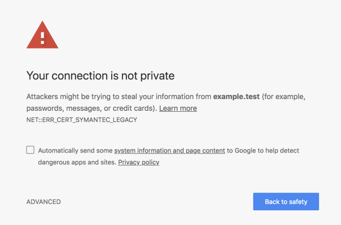 Chrome 66  - interstitial 1 - Chrome 66 released with Security Fixes and Distrust Symantec Certs