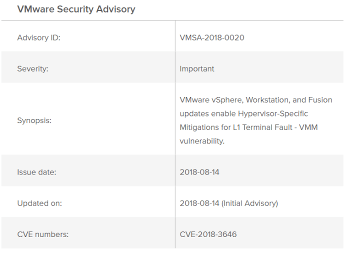 VMware Security Updates  - Vm2 - VMware Security patches for Multiple Vulnerabilities Including L1 Terminal Fault