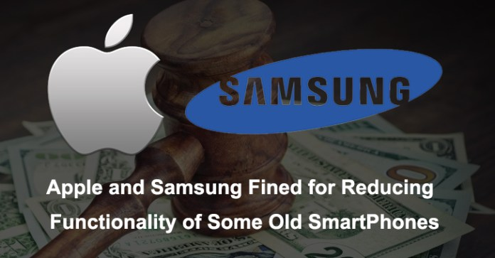 Apple and Samsung  - Apple and Samsung - Apple and Samsung Fined for Reducing the Functionality