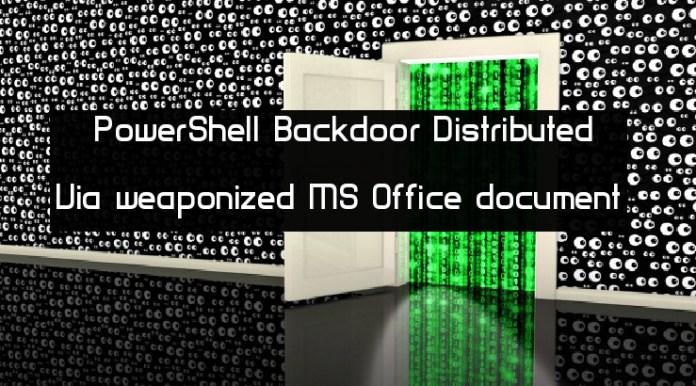 PowerShell based Backdoor  - K7sWM1543693443 - PowerShell-based Backdoor Distributed Via MS Word document