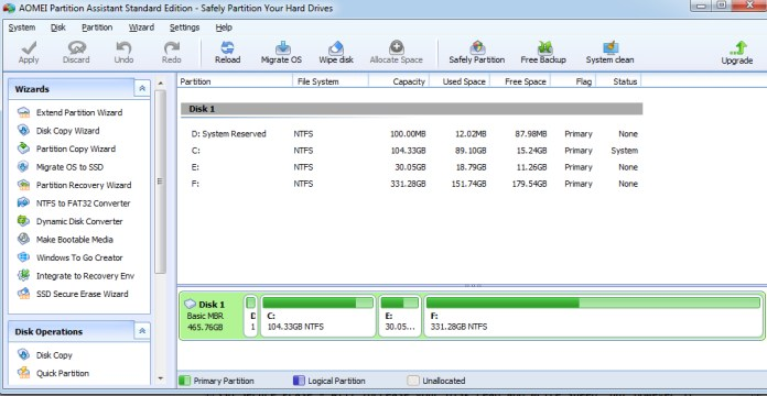 partition wizard 100 disk usage