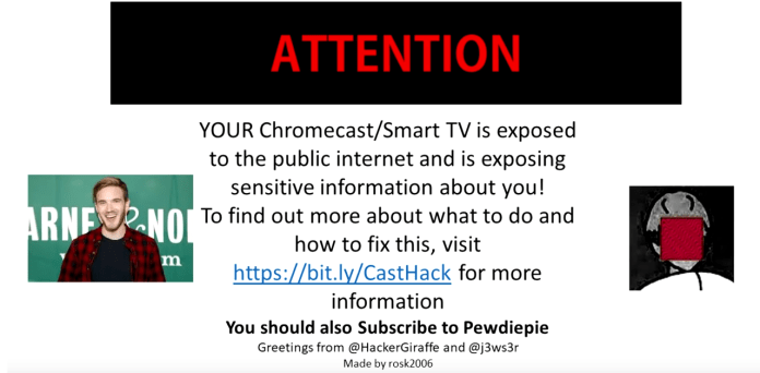 Chromecast  - pie - Hackers Compromised SmartTVs & Chromecast To Promote PewDiePie