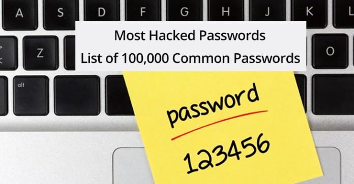most Hacked Passwords  - most Hacked Passwords - Most Hacked Passwords – Top 100,000 Common Passwords