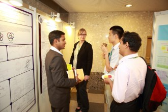 Kiran during the poster session.