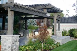Pergola over outdoor dining space