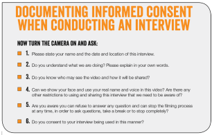 Suggested questions for documenting informed consent when conducting interviews with survivors of gender-based violence. Learn more - https://library.witness.org/product-tag/gender-based-violence/