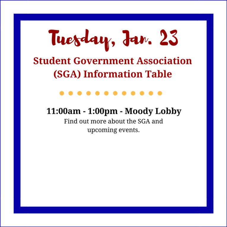Tuesday SGA Info Table