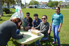 2018 students at spring fling student club give away at Galveston College