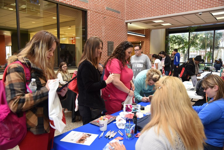 Students enjoy the campus and community Involvement Fair Jan. 29 in the Mary Moody Northen Center Atrium.