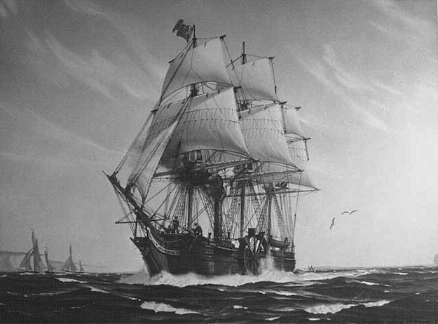 SS Savannah, first U.S. merchant steam ship to complete an Atlantic crossing, having set sail on May 22, 1819.  gCaptain image
