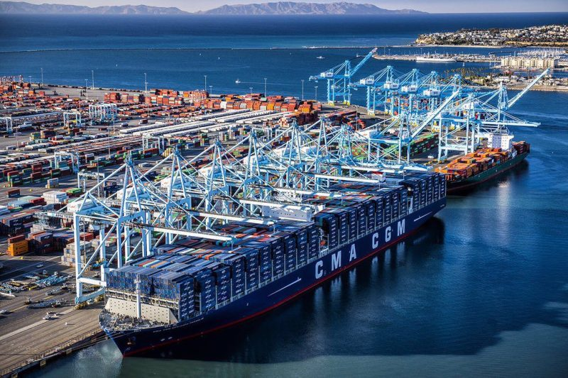 The CMA CGM Benjamin Franklin calls at the Port of Los Angeles, December 26, 2015. Photo: Port of Los Angeles