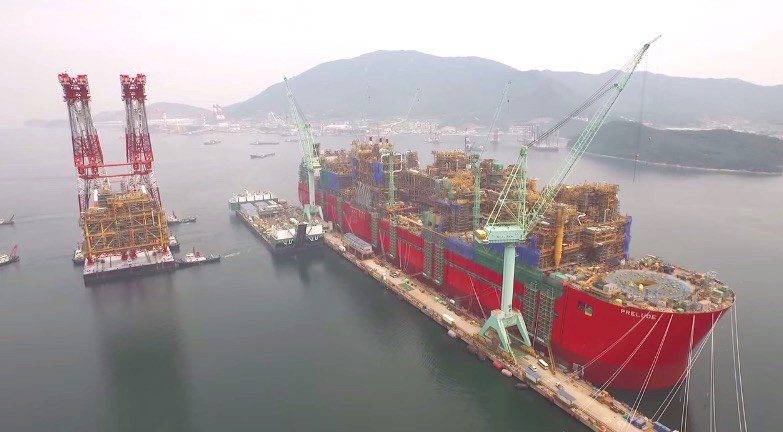 Prelude FLNG under construction at the DSME shipyard in South Korea. Photo: