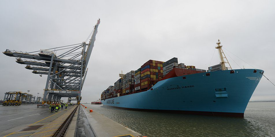 The Triple-E containership Munkebo Maersk calls at DP World's London Gateway in February 2015. Photo credit: London Gateway