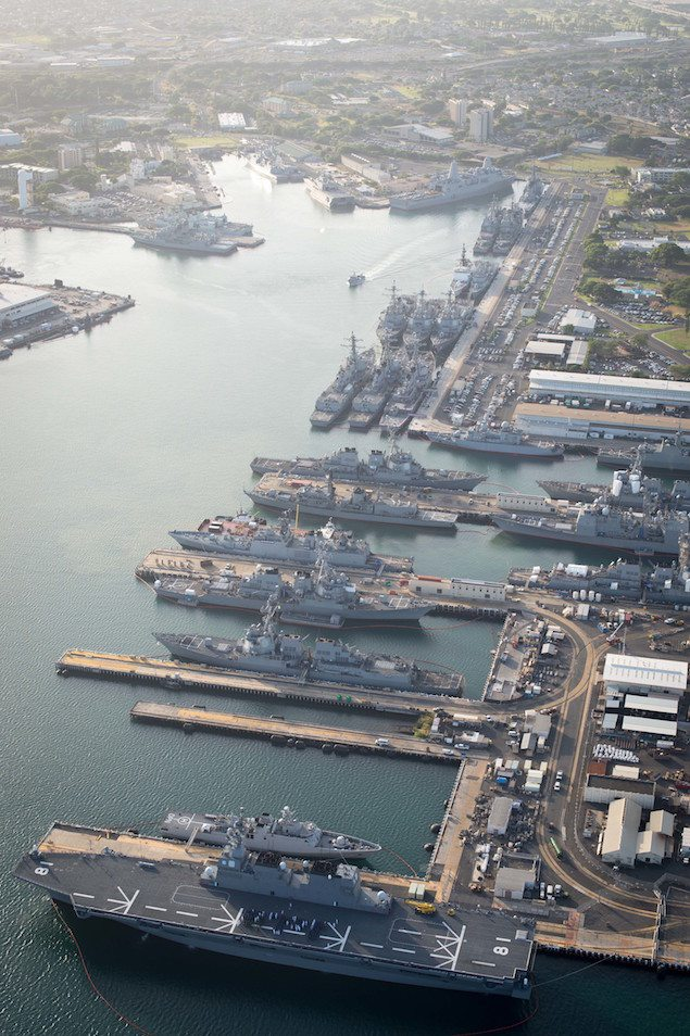 160701-N-SI773-291 JOINT BASE PEARL HARBOR-HICKHAM (July 1, 2016) An aerial view of ships moored at Joint Base Pearl Harbor-Hickam for Rim of the Pacific 2016. Twenty-six nations, more than 40 ships and submarines, more than 200 aircraft, and 25,000 personnel are participating in RIMPAC from June 30 to Aug. 4, in and around the Hawaiian Islands and Southern California. The world's largest international maritime exercise, RIMPAC provides a unique training opportunity that helps participants foster and sustain the cooperative relationships that are critical to ensuring the safety of sea lanes and security on the world's oceans. RIMPAC 2016 is the 25th exercise in the series that began in 1971. (U.S. Navy Combat Camera photo by Mass Communication Specialist First Class Ace Rheaume/Released)
