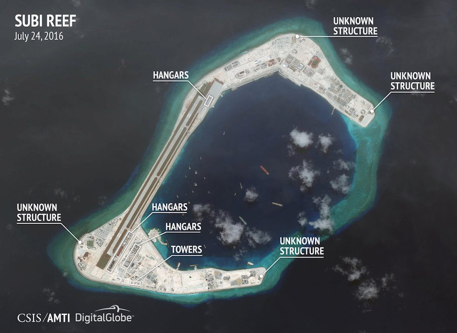 Construction are seen on Subi Reef in the Spratly islands, in the disputed South China Sea in this July 24, 2016 satellite image released by the Asian Maritime Transparency Initiative at Center for Strategic and International Studies (CSIS) to Reuters on August 9, 2016. CSIS Asia Maritime Transparency Initiative/DigitalGlobe/Handout via REUTERS      ATTENTION EDITORS - THIS IMAGE WAS PROVIDED BY A THIRD PARTY. REUTERS IS UNABLE TO INDEPENDENTLY VERIFY THE AUTHENTICITY, CONTENT, LOCATION OR DATE OF THIS IMAGE. FOR EDITORIAL USE ONLY. NOT FOR SALE FOR MARKETING OR ADVERTISING CAMPAIGNS. NO COMMERCIAL OR BOOK SALES. MANDATORY CREDIT. NO RESALES. NO ARCHIVES.