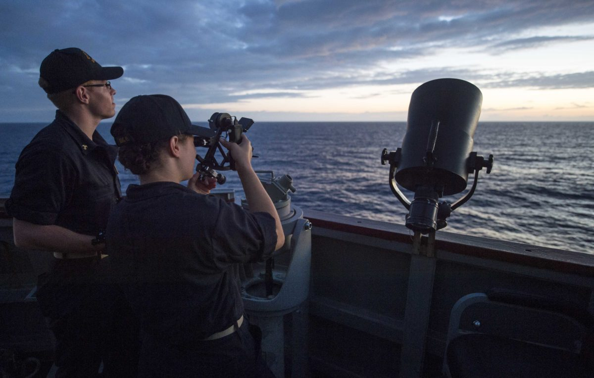 160903-N-PD309-516 PHILIPPINE SEA (Sept. 3, 2016) Midshipmen 2nd Class Benjamin Sams and Reagan Stromback, students at the U.S. Merchant Marine Academy, fix the ship's position using a sextant aboard the Arleigh Burke-class guided-missile destroyer USS Benfold (DDG 65). Benfold is on patrol with Carrier Strike Group 5 in the Philippine Sea supporting security and stability in the Indo-Asia-Pacific region. (U.S. Navy photo by Mass Communication Specialist 3rd Class Deven Leigh Ellis/Released)