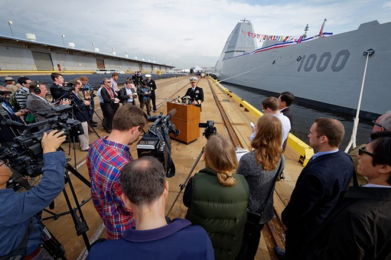 161013-N-NW961-011 BALTIMORE (Oct. 13, 2016) Capt. James A. Kirk, commanding officer of future USS Zumwalt (DDG 1000) answers questions from the media during a media tour of the Zumwalt-class guided missile destroyer, which will be commissioned Oct. 15 during Maryland Fleet Week and Air Show Baltimore. Fleet week offers the public an opportunity to meet Sailors, Marines, and members of the Coast Guard and gain a better understanding of how the sea services support the national defense of the United States and freedom of the seas. (U.S. Navy photo by Chief Michael O'Day/Released)