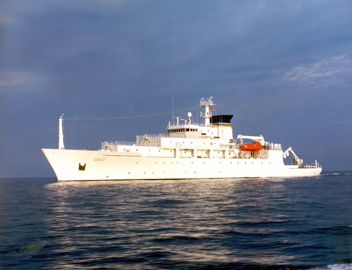 Navy file photo of the Military Sealift Command's T-AGS 60 Class Oceanographic Survey Ship, USNS Bowditch. U.S. Navy Photo